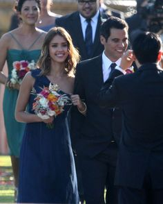 Jessica Alba wearing the french blue Amsale dress for a wedding