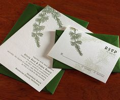 <3 this invitation for a fall or winter wedding! By letterpress studio http://invitationsbyajalon.com on http://WedOverHeels.com