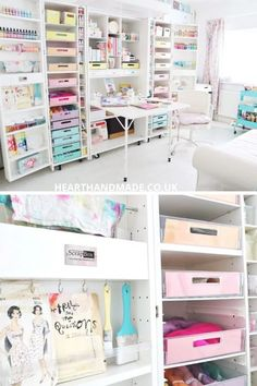 Craft Room Inspiration and Craft Storage Solutions For Busy Crafter's Craft Storage Furniture, Craft Room Storage, Room Organization, Craft Rooms, Craft Storage Solutions, Storage Ideas, Storage Shelves, Craft Shed, Space Crafts