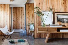 Postales de una casa modernista  El toque distintivo aquí es la madera, utilizada como recurso para lograr un estilo, pero aun más para lograr esa sensación de cobijo y equilibrio visual. El petiribí, el goiabao y el machimbre se repiten en muros, puertas y muebles.  /Magalí Saberian