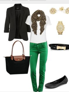 Green pants with white top, navy or black coat\jacket and animal printed scarf