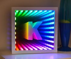 Make your own infinity mirror from an IKEA Ribba frame. Led Infinity Mirror, Infinity Lights, Infinity Spiegel, Infinity Table, Infinity Art, Mirror Illusion, Mirrors Film, Led Projects, Ribba Frame