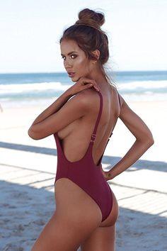 Aitos Sexy Bikini Badeanzug Damen Einteiler Bademode Triangle Schlankheits  Strandmode Figurformend Rückenfrei U-Back Sommer 82f3f1796a