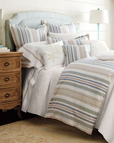 """""""Shell"""" and """"Bridgewater"""" Bed Linens by C & F Enterprises Inc at Horchow."""