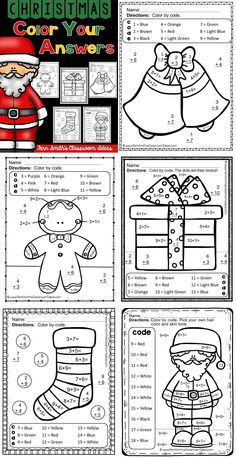 Christmas Color By Number Addition Christmas Worksheets, Christmas Activities For Kids, Math For Kids, Christmas Names, Christmas Math, Christmas Crafts, Christmas Color By Number, Christmas Colors, Math Worksheets