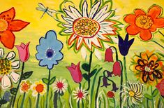 The children of Ashby Hill Top painted this wild and wonderful flower garden mural to brighten a rather dull playground wall ! We named it 'The Brightest of Beginnings!'