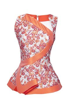 Shop Orange And Dusty Pink Peplum Top. This sleeveless metallic floral brocade **Antonio Berardi** blouse features an asymmetric neck, graphic stripes across the bodice, and a folded peplum that splits at the back. African Print Dresses, African Print Fashion, African Fashion Dresses, African Dress, Fashion Outfits, Womens Fashion, Fashion Trends, African Tops, African Women