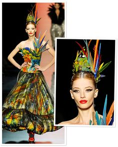 Jean Paul Gaultier ~ After seeing the movie Black Swan, Gaultier took his Fall 2011 Couture collection to the ballet. Feathers, full skirts, and severely simple hair and makeup were the designer's vision of the dark side of dancer style.