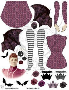 Bat Queen Altered Art Paper Doll Base Kit Digital Collage Sheet PDF. $2.75, via Etsy.