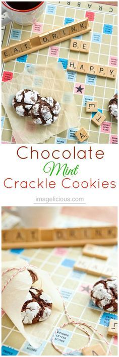 Chocolate-Mint Crackle Cookies - perfect little mint cookies to make during winter holidays | Imagelicious