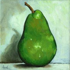 Green Pear, painting by artist Linda Apple