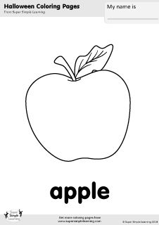 Free Halloween coloring pages for kids from Super Simple Learning. More printables at www.supersimplelearning.com/resource-room. #apple #food #kindergarten #preK #ESL