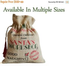 Gift Sack For Kids Family Colleagues Special by AmoreBeaute Christmas Gift Bags, Christmas Pillow, Christmas Decor, Christmas Wrapping, Holiday Decorations, Christmas Holiday, Burlap Favor Bags, Personalized Gift Bags, Santa Sack