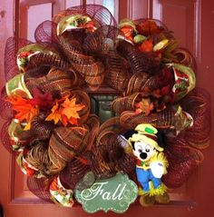 Fall Decor Wreath - Fall Wreath - Halloween Wreath - Deco Mesh Wreath - Disney Wreath - Mickey Mouse - Holiday Wreath - - Custom Wreath on Etsy, $60.00