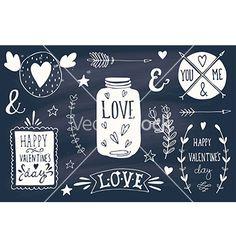 Valentines day design elements on blackboard vector love doodles by Julia_Henze on VectorStock®