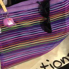 Stripe bag, sunglasses, NY key chain 121/2by 10 stripe nylon bag, 9 & Co blue sunglasses (few tiny scratches), cute baseball key chain. Accessories Glasses