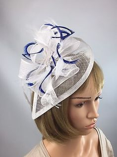 White And Royal Blue Fascinator Wedding Ascot Races Ladies Day Bride a4e7021001f