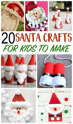 20 fun Santa Crafts for kids to make, and even play with! With all of 20 fun Santa Crafts for kids to make, and even play with! Santa Crafts For Kids To Make, Christmas Crafts For Kids To Make, Christmas Activities For Kids, Preschool Christmas, Toddler Christmas, Holidays With Kids, Handmade Christmas, Crafts To Make, Easy Crafts