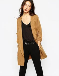 $126, Tan Trenchcoat: Vero Moda Belted Trench Coat. Sold by Asos. Click for more info: https://lookastic.com/women/shop_items/311561/redirect