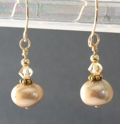 Gold Pearl Earrings, Swarovski Crystals 14K Gold Filled Wires Handmade