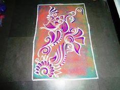 how to make simple poster rangoli design - YouTube