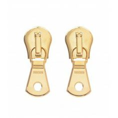 Moschino Anniversary Zipper Earrings - Gold Zipper Earrings - ShopBAZAAR