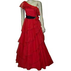 70s red nylon lolita gown prom dress one shoulder by pinehaven2, $95.00