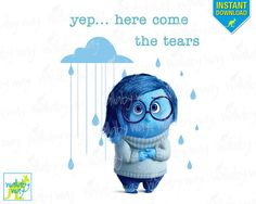 Inside Out Sadness Printable Iron On Transfer or Use as Clip Art - DIY Disney Shirts Inside Out Movie Pixar Instant Download Disney Vacation by TheWallabyWay on Etsy