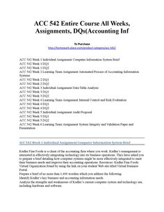Acc 542 entire course all weeks, assignments, dqs(accounting inf  ACC 542 Entire Course All Weeks, Assignments, DQs(Accounting Inf  To Purchase http://homework-place.com/product-category/acc-542/  ACC 542 Week 1 Individual Assignment Computer Information System Brief ACC 542 Week 1 DQ1 ACC 542 Week 1 DQ2 ACC 542 Week 2 Learning Team Assignment Automated Process of Accounting Information Systems ACC 542 Week 2 DQ1 ACC 542 Week 2 DQ2 ACC 542 Week 3 Individual Assignment Data Table Analysis ACC…