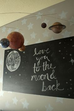 """This mom painted a small chalkboard square above baby's crib to draw a new quote or artwork whenever it needed a new look. A """"Love You To The Moon And Back"""" quote is the sweetest touch! 