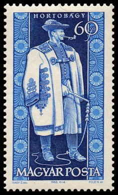 Stamp printed by Hungary, shows provincial  costumes of  Hortobágy , circa 1963