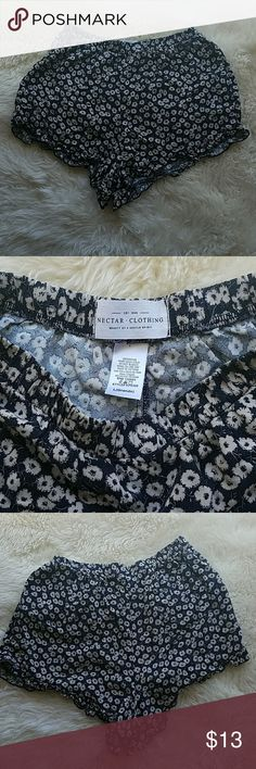 Nectar Floral shorts Similar to the vidi  short by brandy melville. Blue and White floral size large but these type always run small. Elastic Band so depends on the desired fit. Nectar is a so cal brand similar to brandy melville type clothing. Shorts