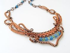 Dance Copper Wire Wrapped Statement Necklace Blue от sparkflight