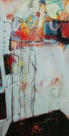 "Anne-Laure Djaballah | Bernice Stories, oil, mixed media on canvas, 48x24"""