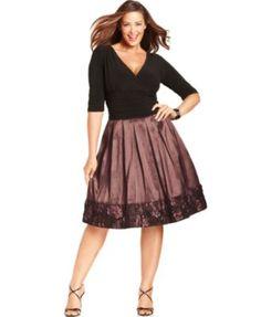 SL Fashions Plus Size Dress, Three-Quarter-Sleeve Ruched Pleated