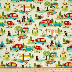 Riley Blake Road Trip Main Cream from @fabricdotcom  Designed by Kelly Panacci for Riley Blake Designs, this cotton print collection features lovely retro travel themed prints. Perfect for quilting, apparel, and home decor accents. Colors include beige, green, teal, yellow, red, brown, and white.