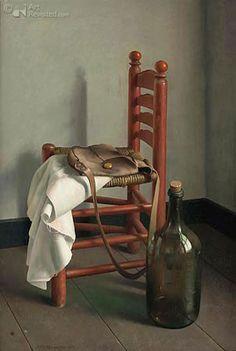 Het rode stoeltje Art Henk Helmantel Still Life Drawing, Still Life Oil Painting, Still Life Art, Still Life Images, Still Life Flowers, Z Arts, Dutch Painters, Hyperrealism, Dutch Artists