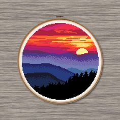 Pink and Blue Mountain Sunset - PDF Cross Stitch Pattern, You can make really particular patterns for textiles with cross stitch. Cross stitch designs can almost surprise you. Cross stitch newcomers can make the designs they need without difficulty. Modern Cross Stitch Patterns, Cross Stitch Charts, Cross Stitch Designs, Embroidery Art, Cross Stitch Embroidery, Embroidery Patterns, Mountain Sunset, Blue Mountain, Cross Stitch Landscape
