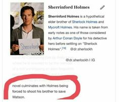 """Sherrinford Holmes>>>>> also Tom Hiddleston us rumored to be in this series<<< and the """"brother"""" who came out turned out to be a sister😂 Sherlock John, Sherlock Holmes, Moriarty, Best Tv Shows, Best Shows Ever, The Science Of Deduction, Vatican Cameos, Benedict And Martin, Mrs Hudson"""