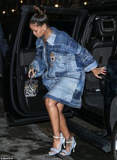 Footwear: Her feet were wrapped in fuzzy blue stylish high heels as she stomped around the Big Apple