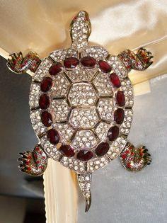 Coro script 1940s rhinestone vtg brooch turtle figural pin 3.5 Katz patent pc £185.23 (BIN)