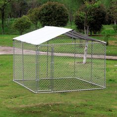 Shop for Pawhut Outdoor Silver Steel/Fabric Chain Link Box Kennel Dog House with Cover. Get free delivery at Overstock - Your Online Dog Supplies Store! Get in rewards with Club O! Outdoor Dog Area, Chain Link Dog Kennel, Dog Enclosures, Dog Playpen, Dog Kennels, Dog Kennel Cover, Cool Dog Houses, Bird Houses, Dog Pen
