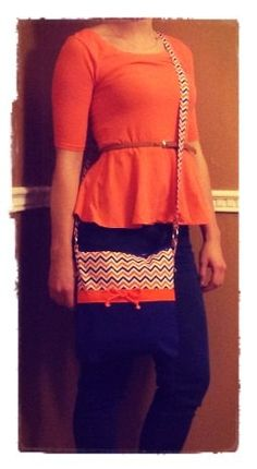Small orange and blue chevron Gator messenger bag by AngjmBags
