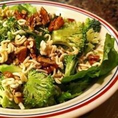 A wonderful combination of flavors in this very easy to prepare salad. A ton of crunch comes from ramen noodles, pecans, and romaine lettuce.