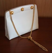 VINTAGE SALVATORE FERRAGAMO WHITE LEATHER GOLD CHAIN SHOULDER BAG HANDBAG