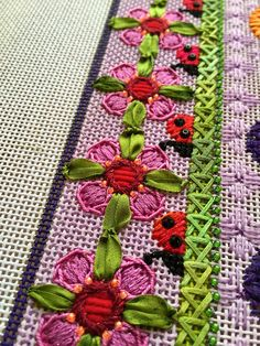 It's not your Grandmother's Needlepoint, flower and ladybug border