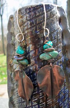 Copper and turquoise earrings.