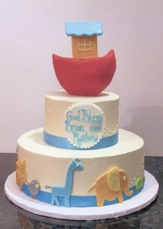 Noah's Ark Christening cake for twin boys Dedication Cake, Dedication Ideas, Christening Cake Boy, Christening Cakes, Boy Cakes, Cakes For Boys, Fancy Cakes, Cute Cakes, Noahs Ark Cake