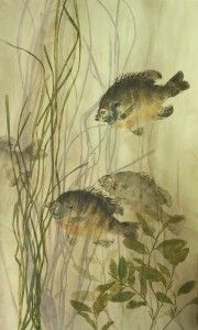 gyotaku with plants and dyed paper