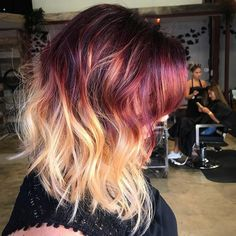 burgundy hair ombre, deep red hair color, red to blonde Burgundy Hair Ombre, Deep Red Hair Color, Red Blonde Hair, Hair Color 2018, Ombre Hair Color, Cool Hair Color, Purple Hair, Hair 2018, Red To Blonde Ombre
